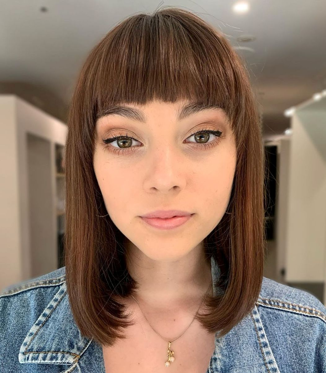 Long Blunt Bob with Arched Bangs