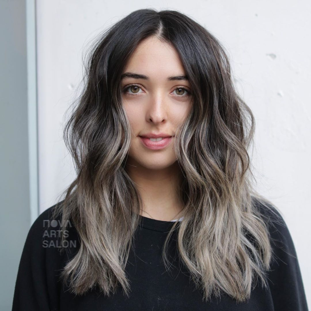 Dark Brown to Gray Ombre Hair