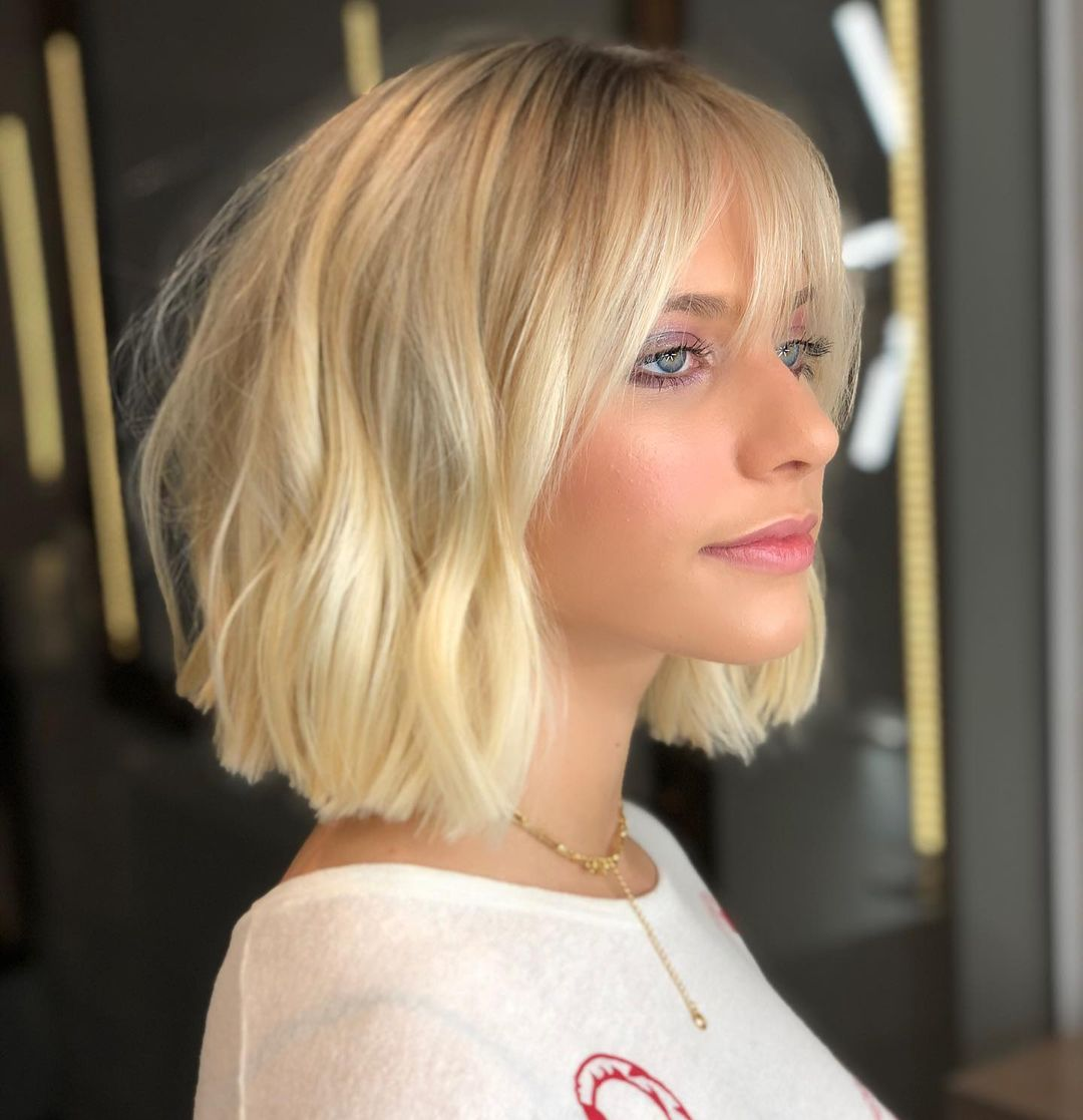 Lovely Blunt Bob Cut with Wispy Bangs