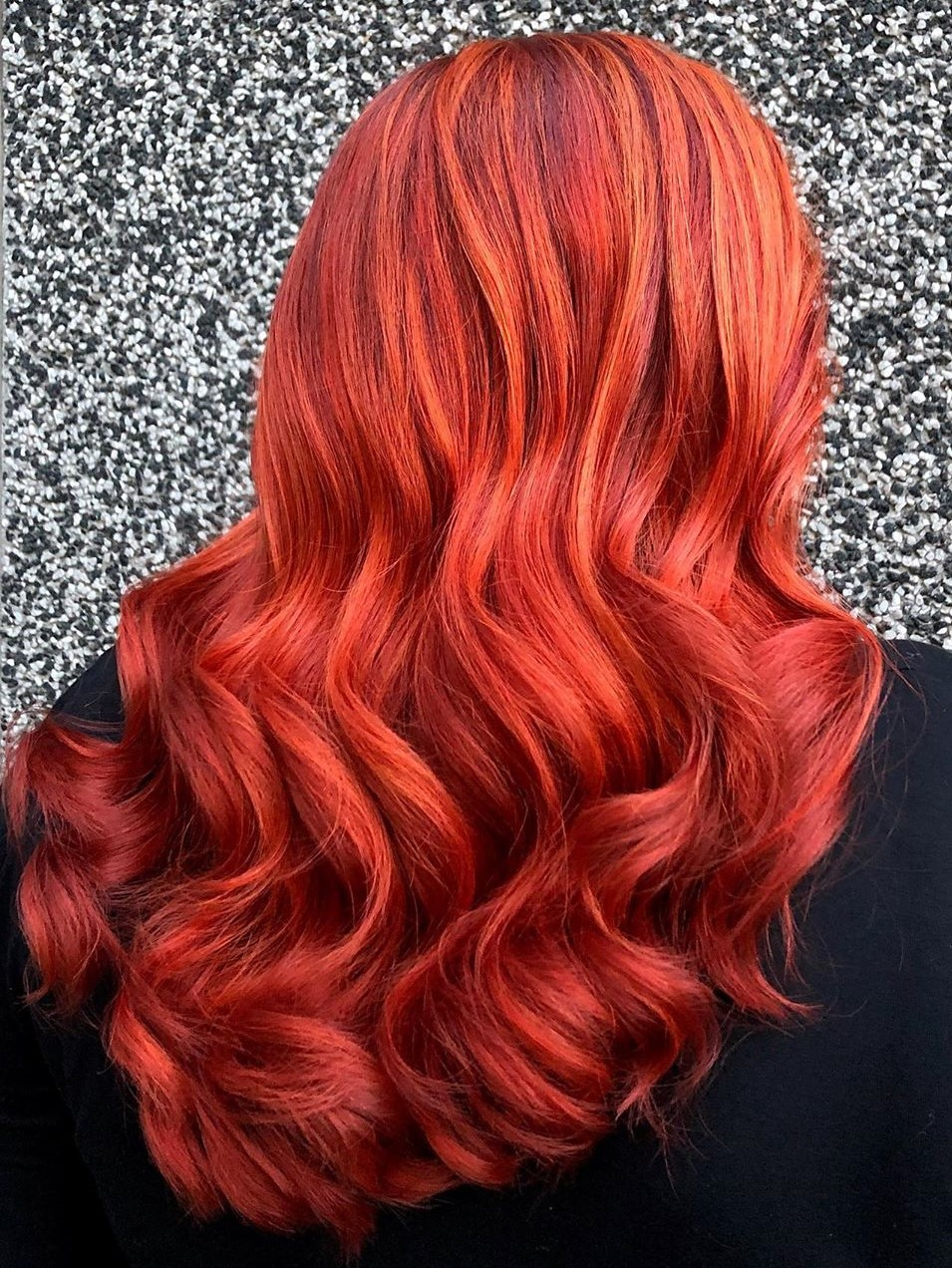 Bright Pink Red Hair with Highlights