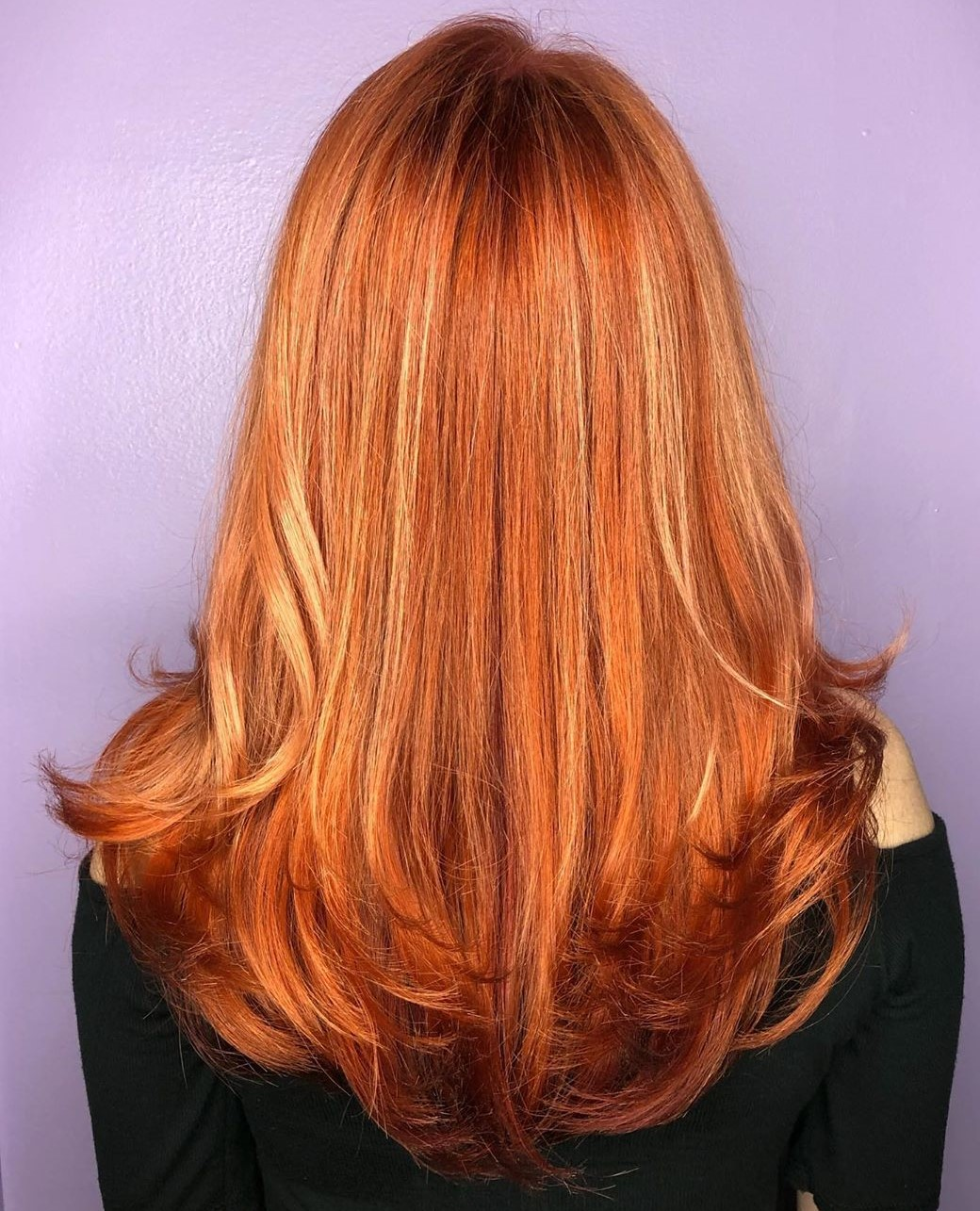 Rose Copper Hair with Strawberry Blonde Highlights