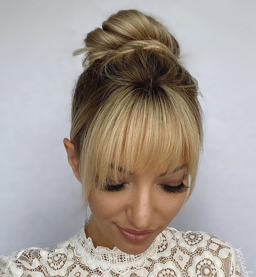 Donut Bun with Bangs for Fine Hair