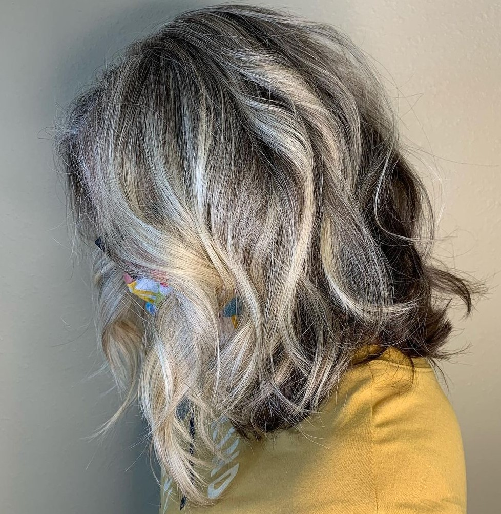 Gray Blonde Hair with Lowlights