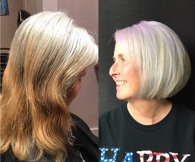 Going Gray from Medium to Short Hair