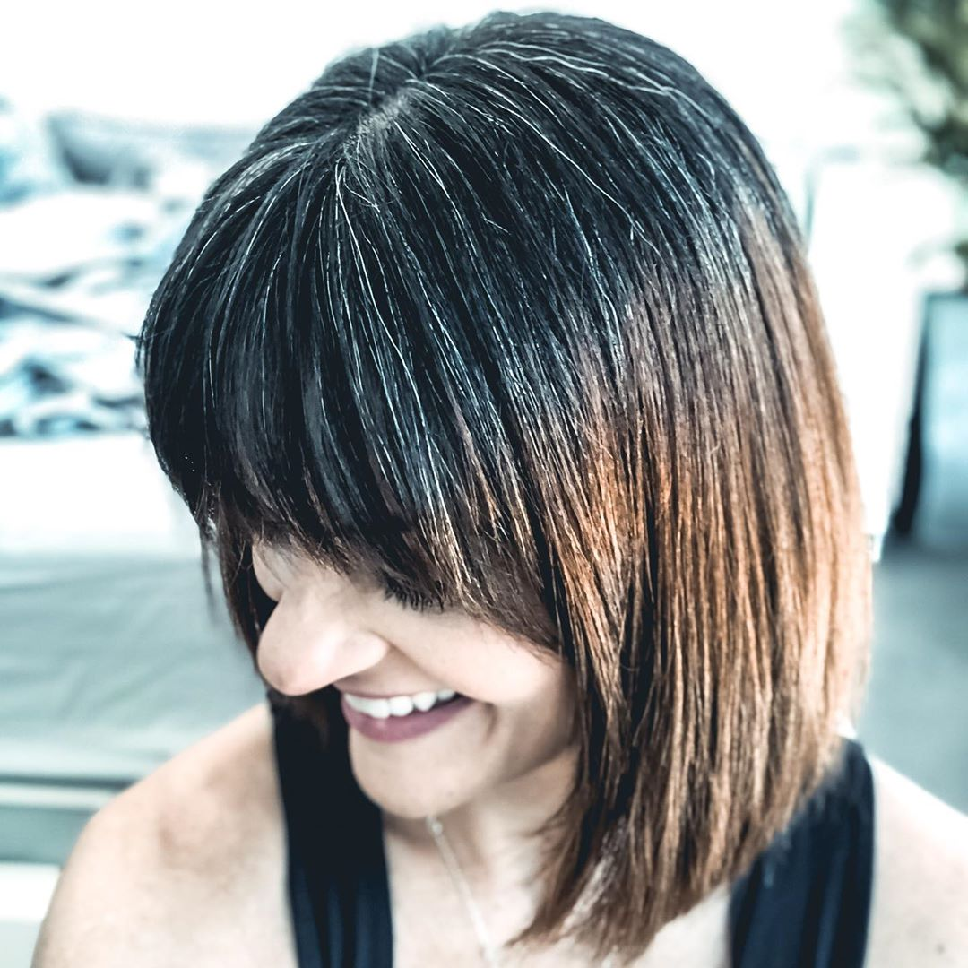 Black and Natural Gray Hair with Fully Gray Bangs