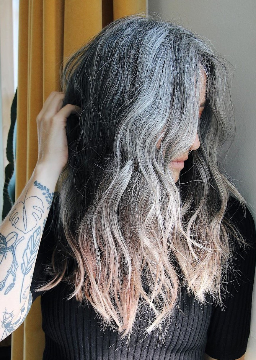 Gray Hair Transition with Balayage