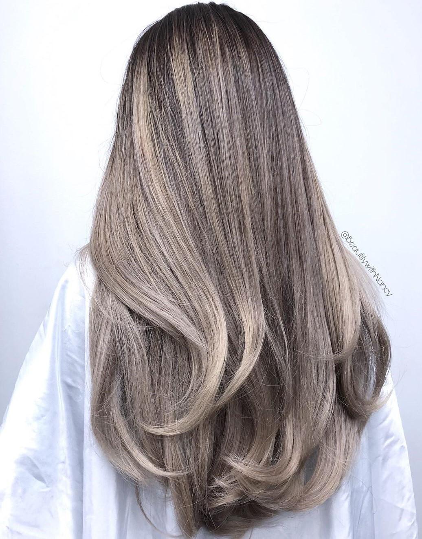 Ash Blonde Balayage for Dark Hair
