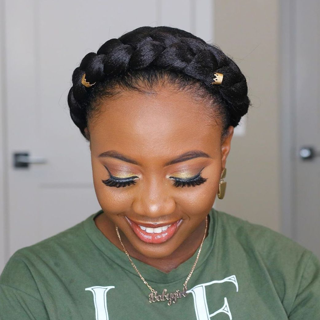 Crown Braid Updo for Black Girls