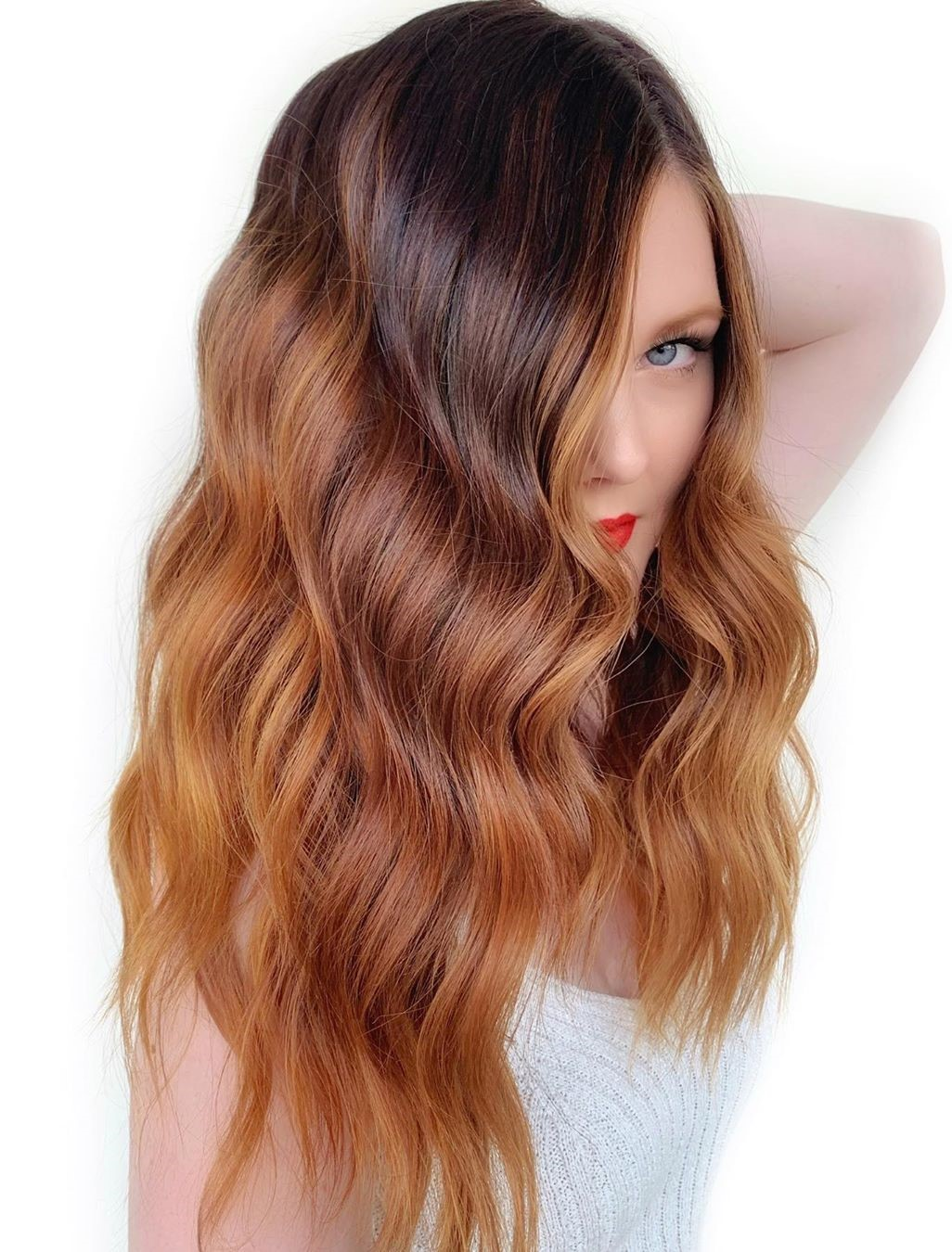 Auburn Ombre with Dark Roots