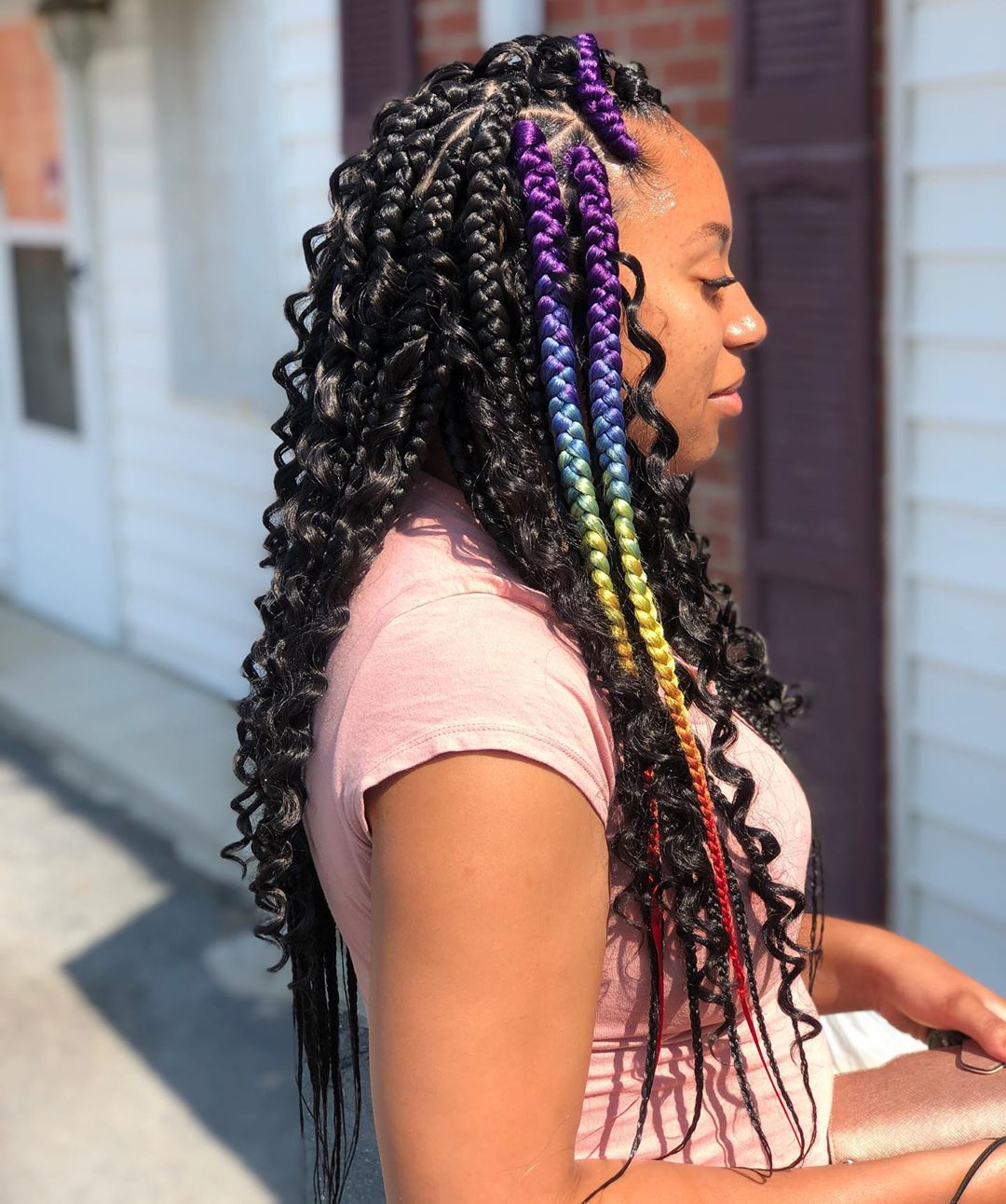 Black and Rainbow Box Braids