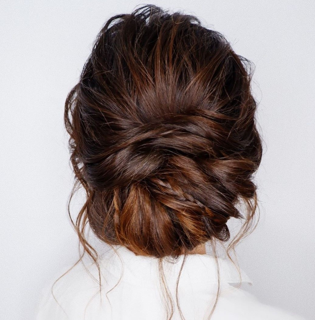 Formal Messy Roll Updo with Braids
