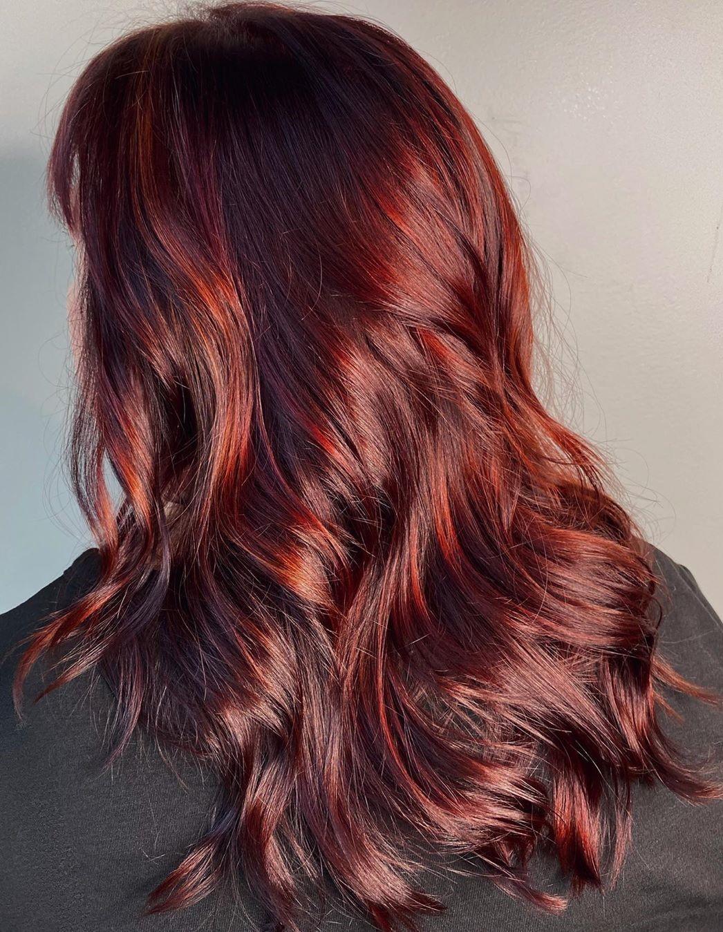 Dark Auburn Hair with Highlights