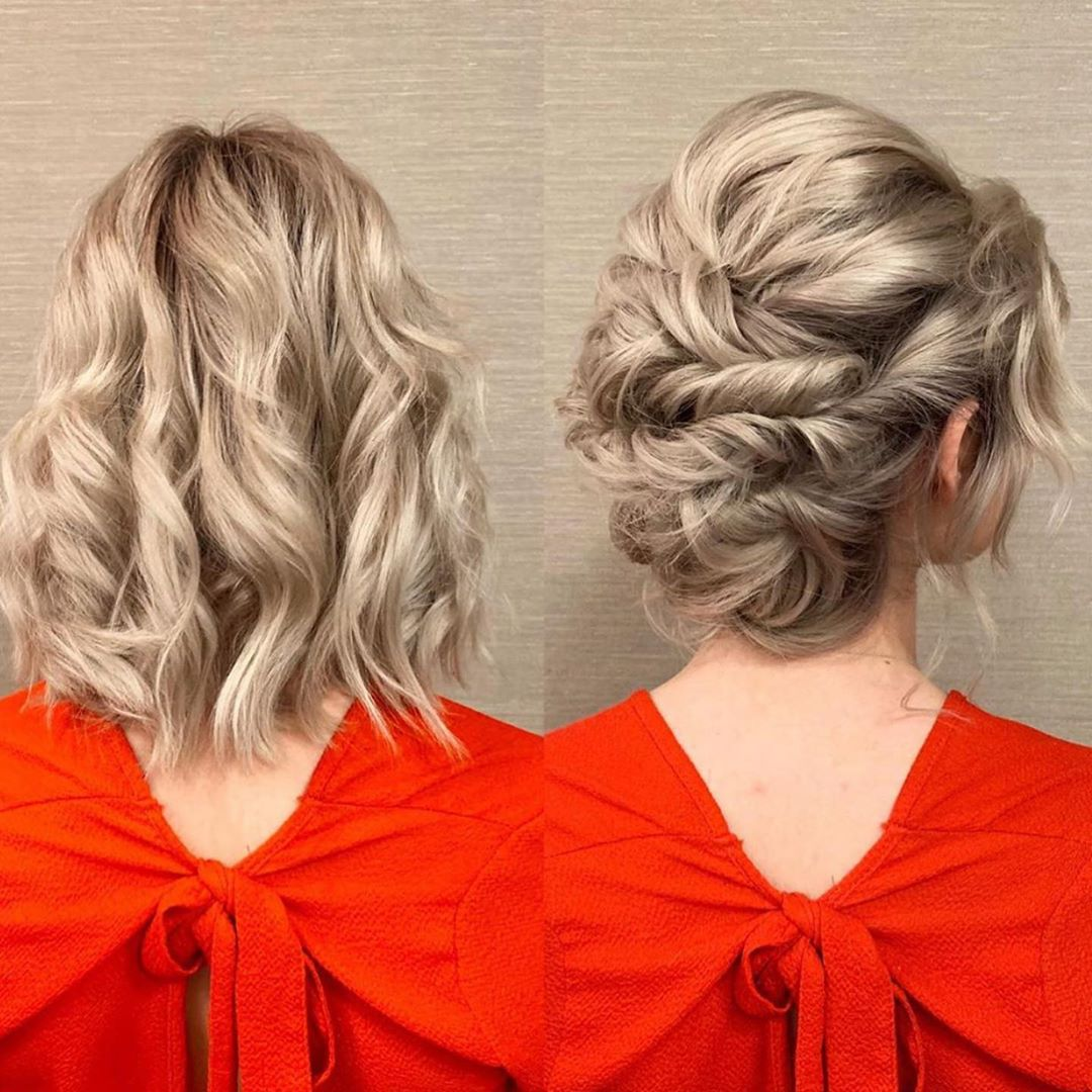 Cute Curly Updo for Medium Hair