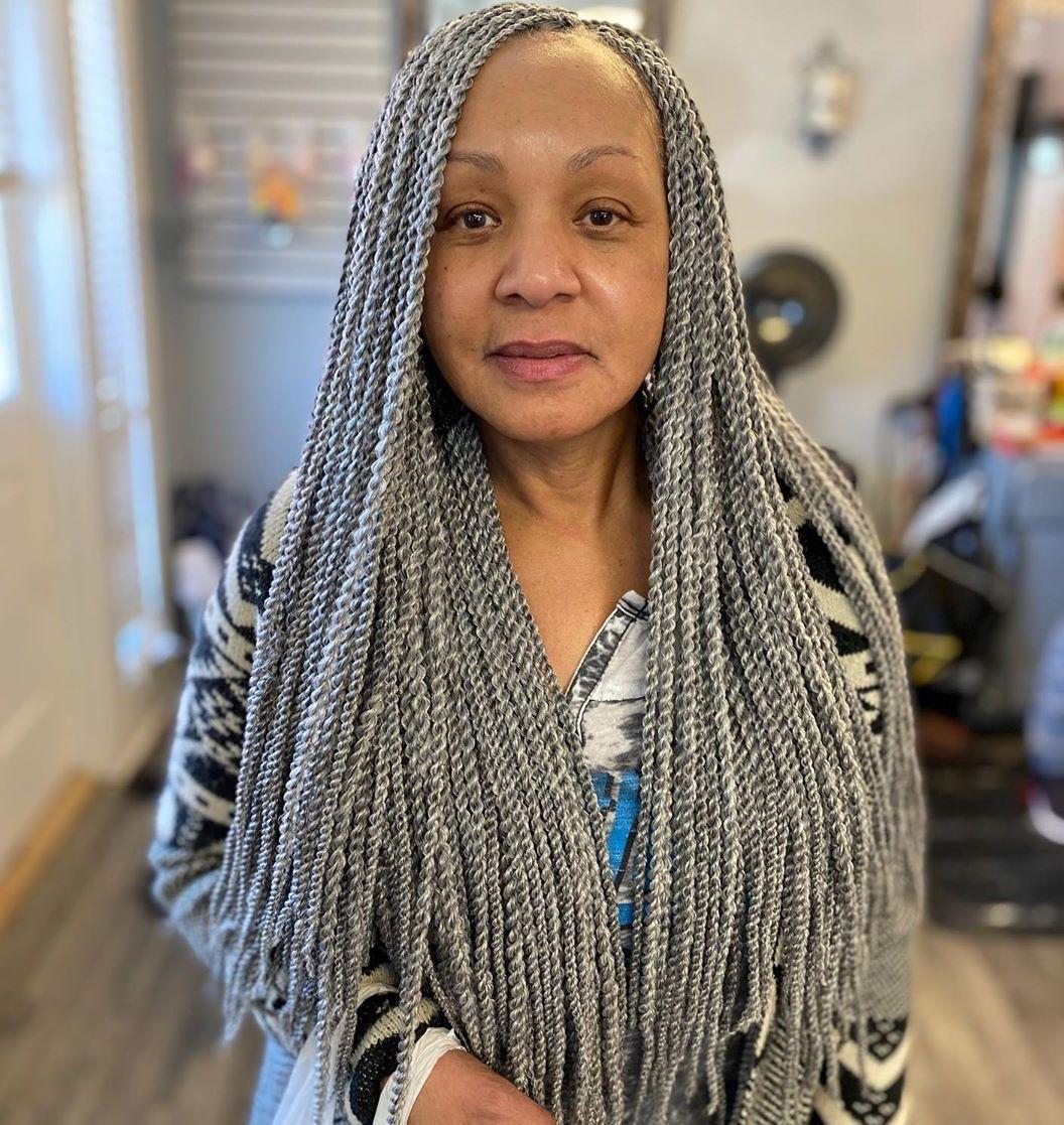 Long Gray Crochet Twists