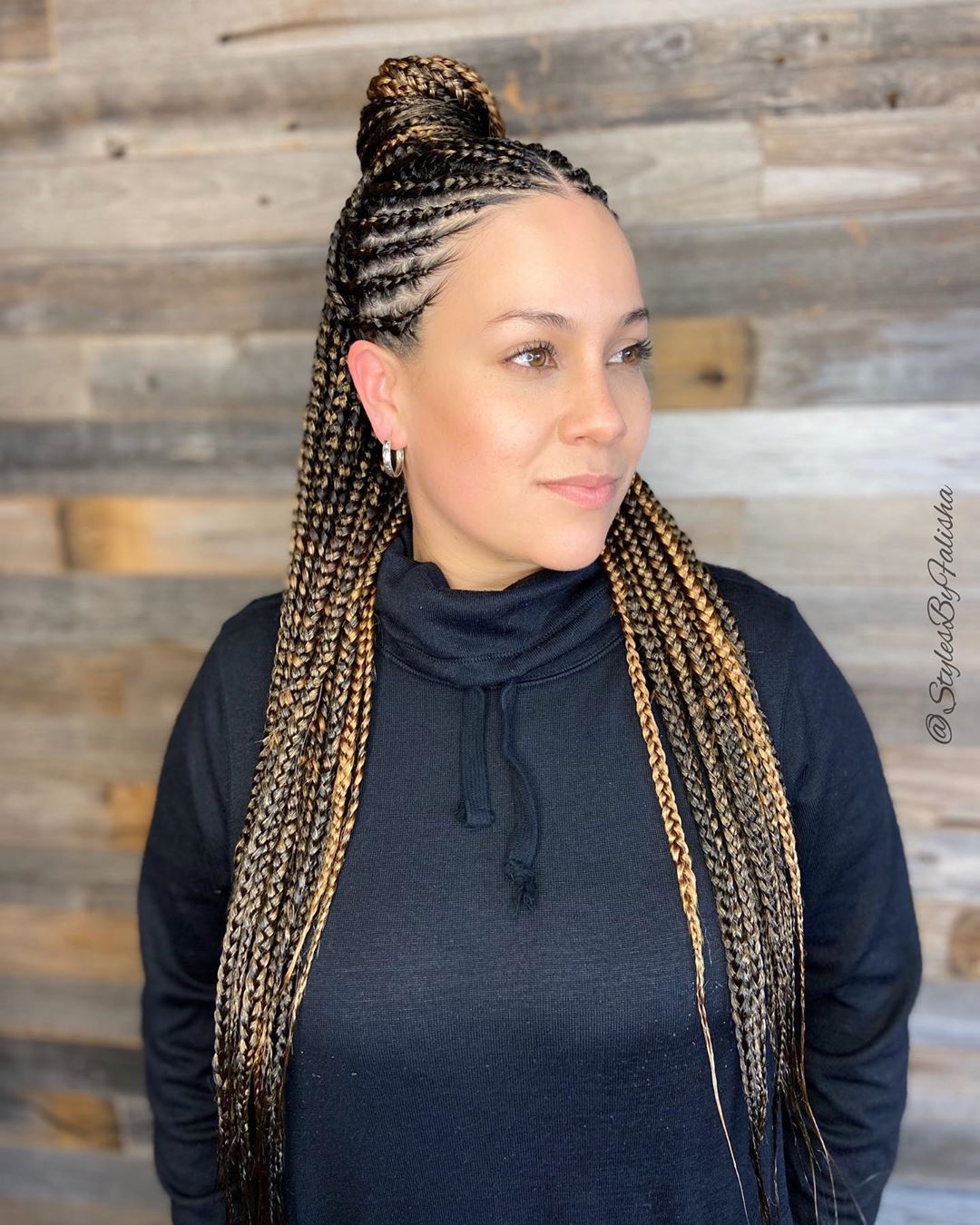 Half Cornrow Half Box Braids for White Girls