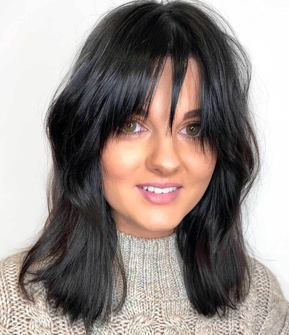 Medium Center-Parted Hair with a Razored Fringe