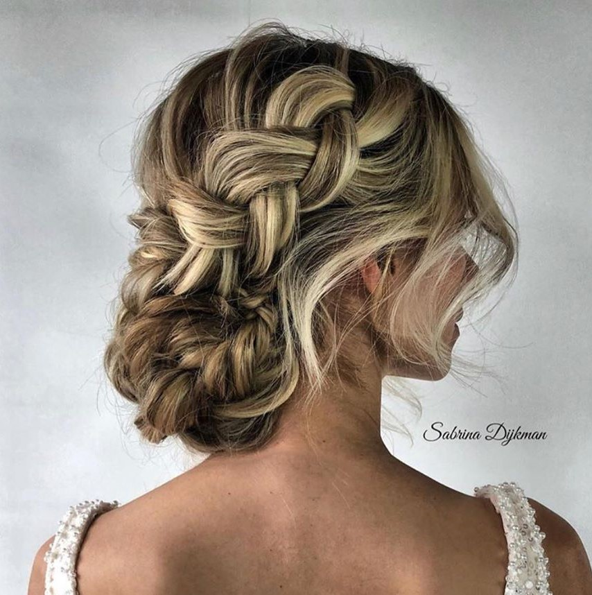 Chic Tousled Updo with a Chunky Braid