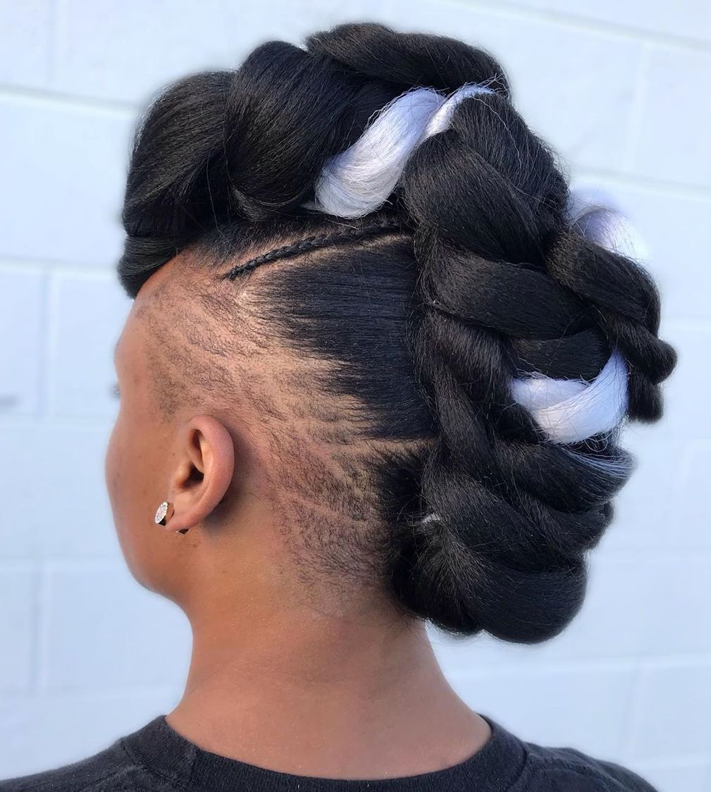 Black Braided Mohawk with Undercut