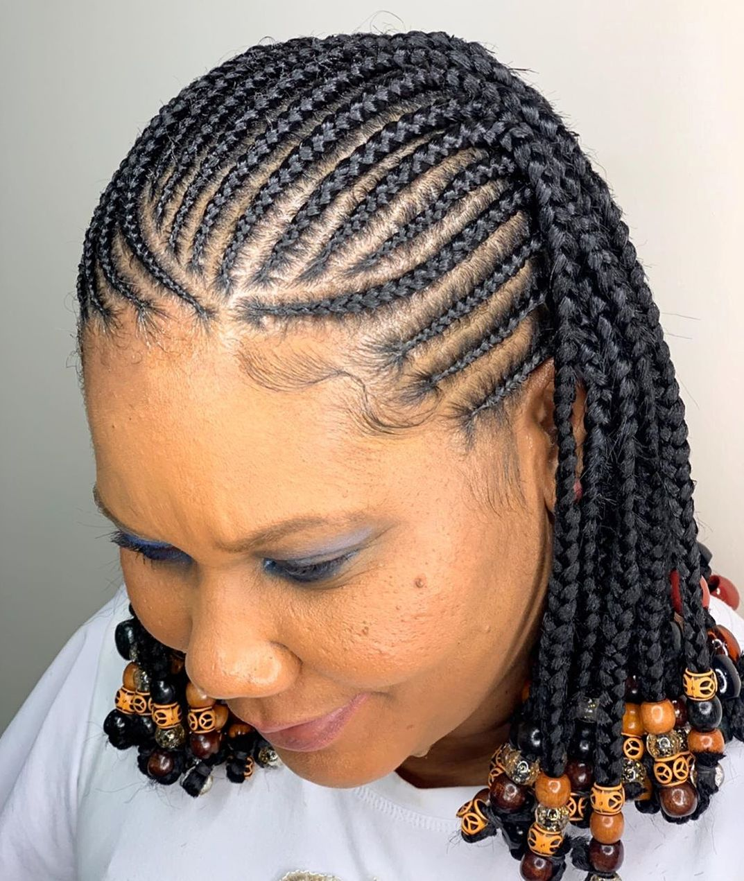 Short Black Braids with Beads