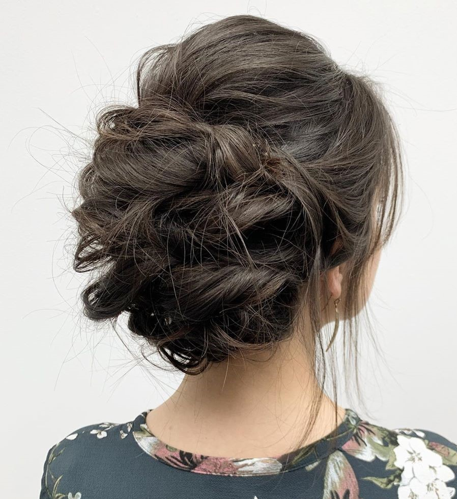 Messy Curly Bouffant Updo