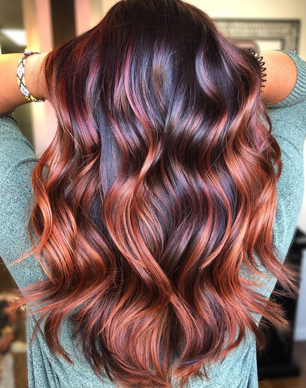 Dark Hair with Auburn Balayage