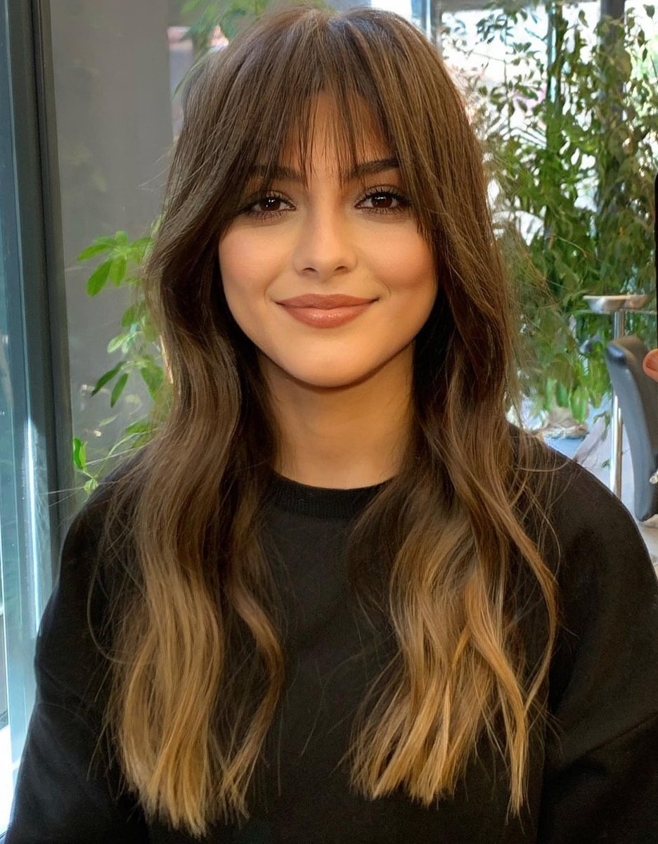 Wispy Long Hairstyle with Bangs