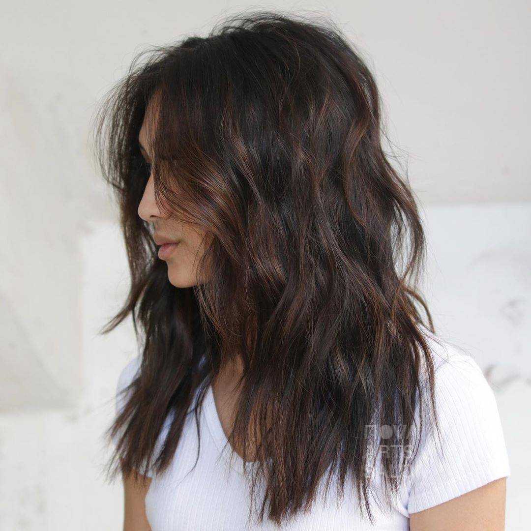 Dark Brown Hair Color with Bronze Highlights