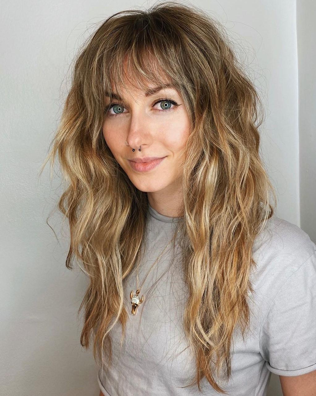 Medium Blonde Hair with Shaggy Bangs