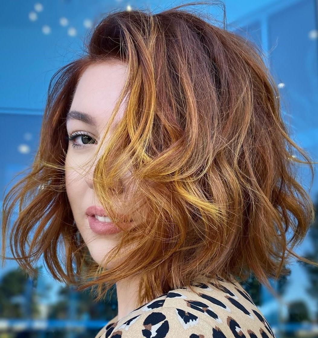 Auburn Hair with Light Caramel Highlights