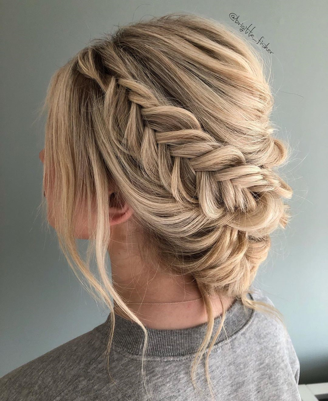 Messy Updo with a Fishtail Braid