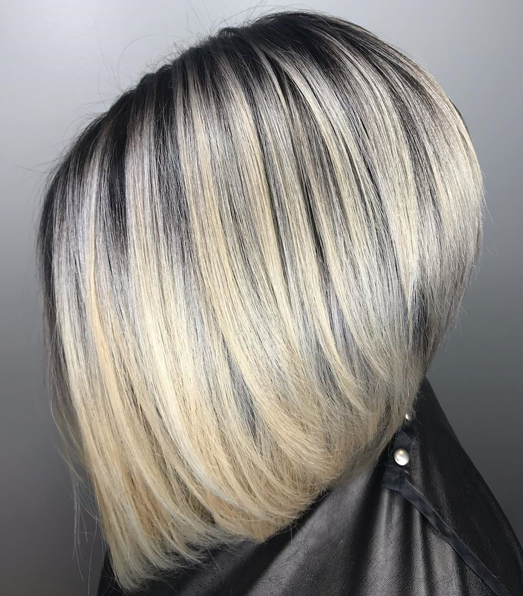 Soft Blonde Balayage with Black Roots