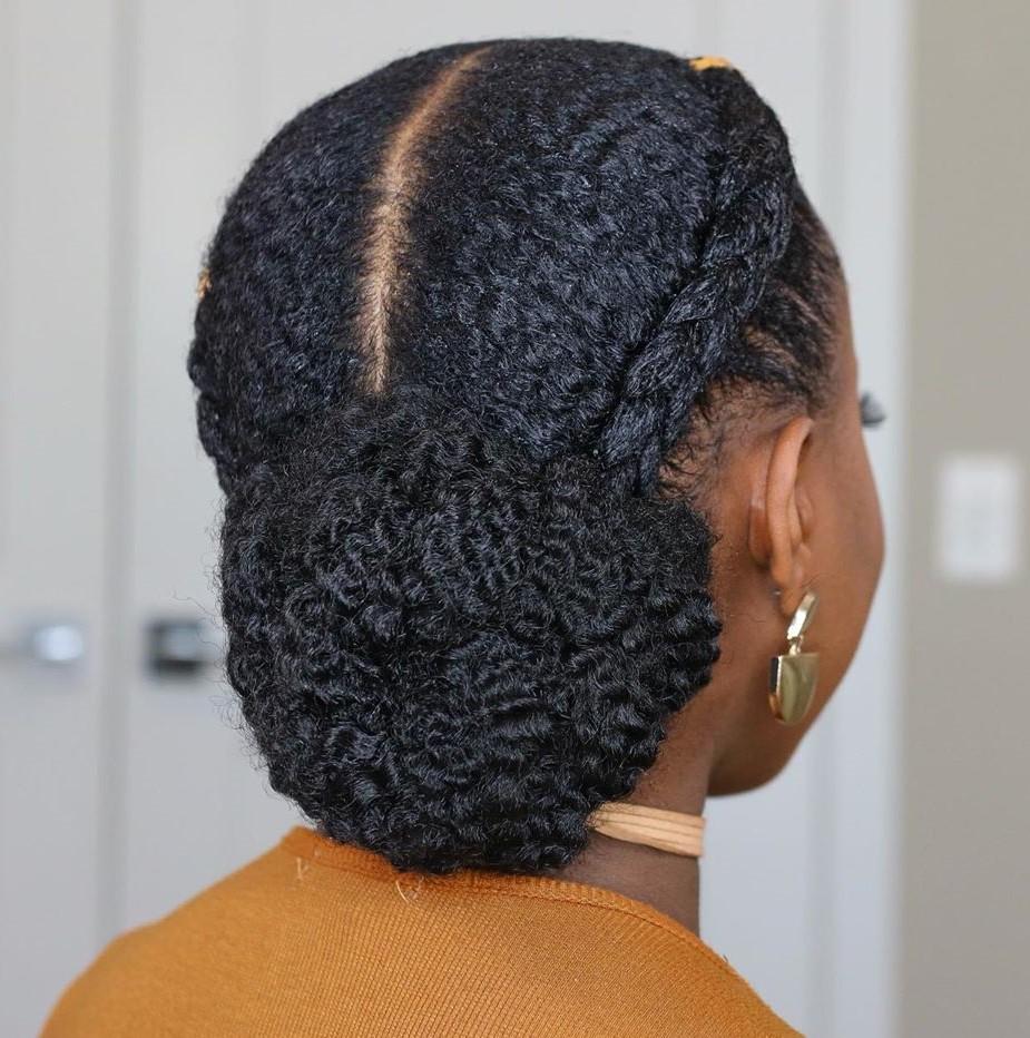 Braids and Bun Natural Hair Updo