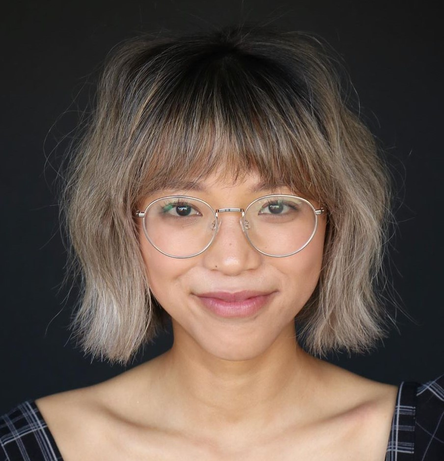 Eyebrow-Skimming Bangs with Glasses