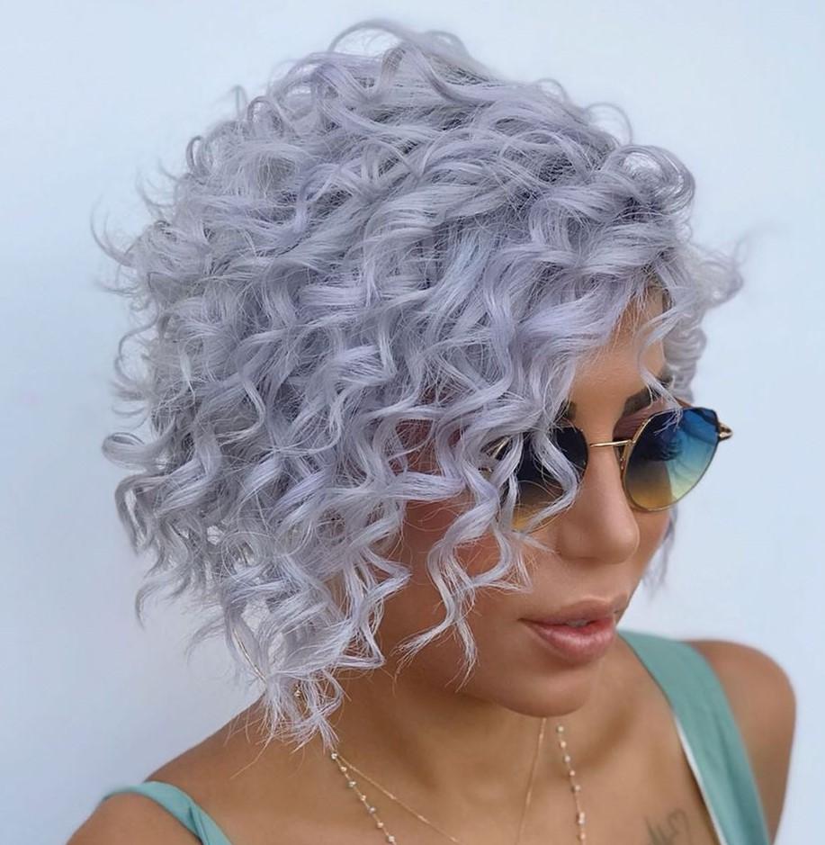 Short Curly Lavender Bob