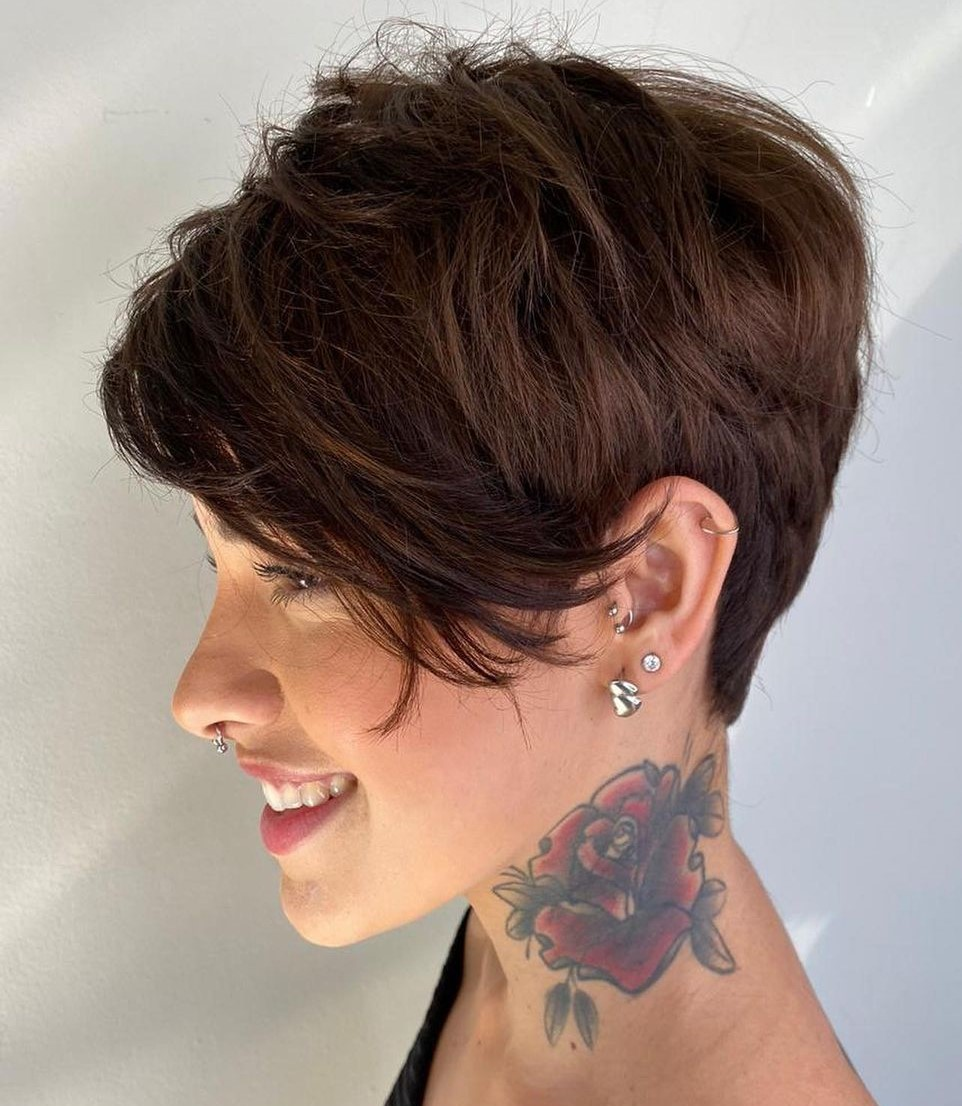Short Choppy Pixie Hairstyle with Bangs