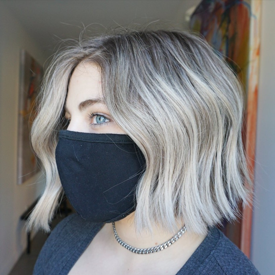 Silver Blonde Bob with Shadow Roots