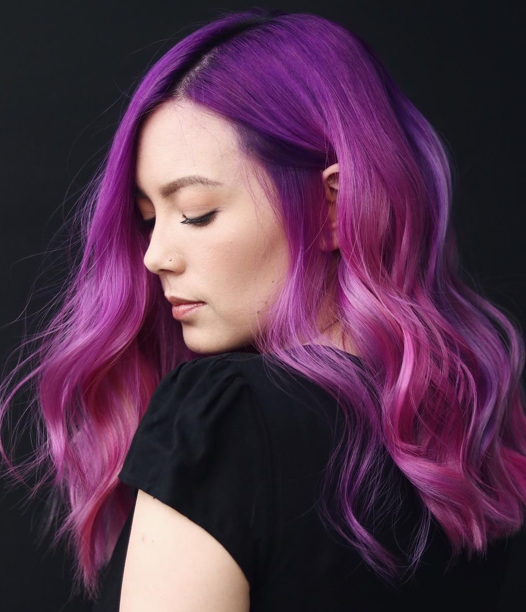 Bright Purple Pink Hair Color