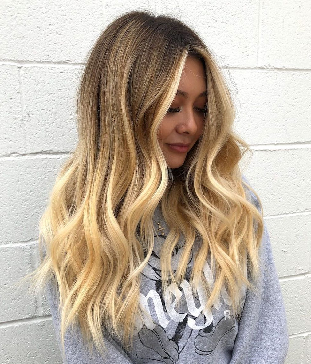 Golden Blonde Balayage Waves