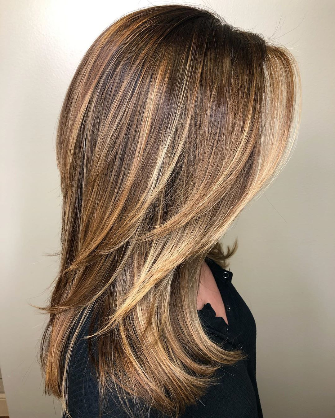 Straight Hair with Caramel Blonde Highlights