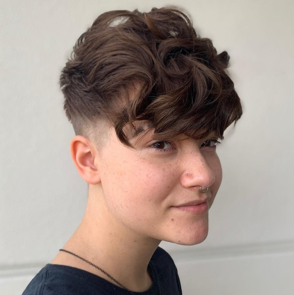 Undercut Pixie with Long Curly Bangs
