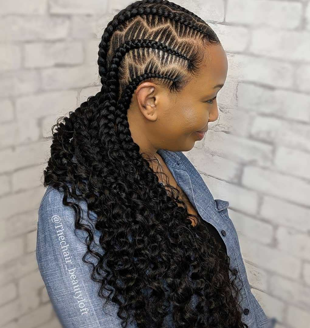Cornrows with Feed-in Curls