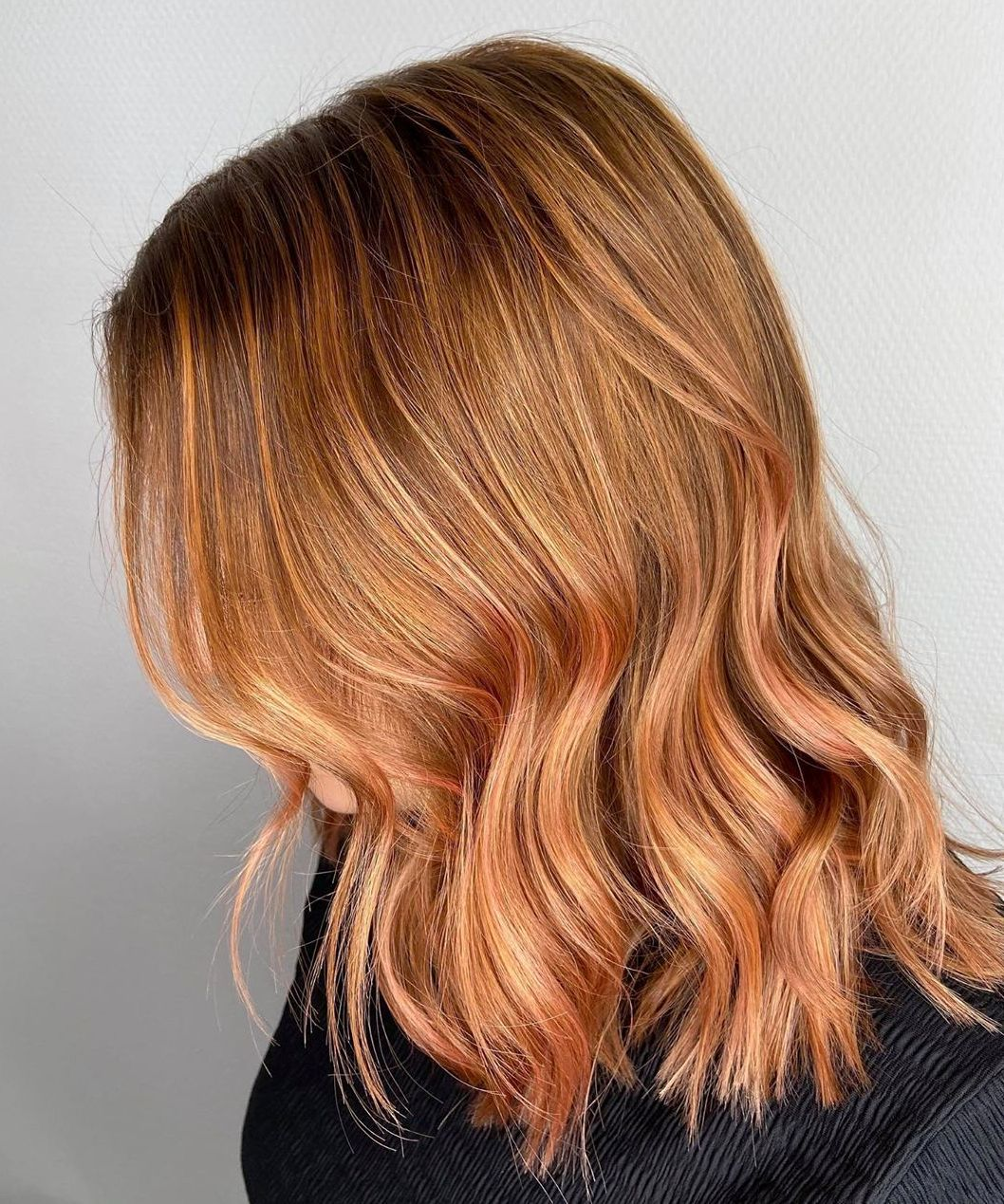 Copper Hair with Rose Gold Highlights