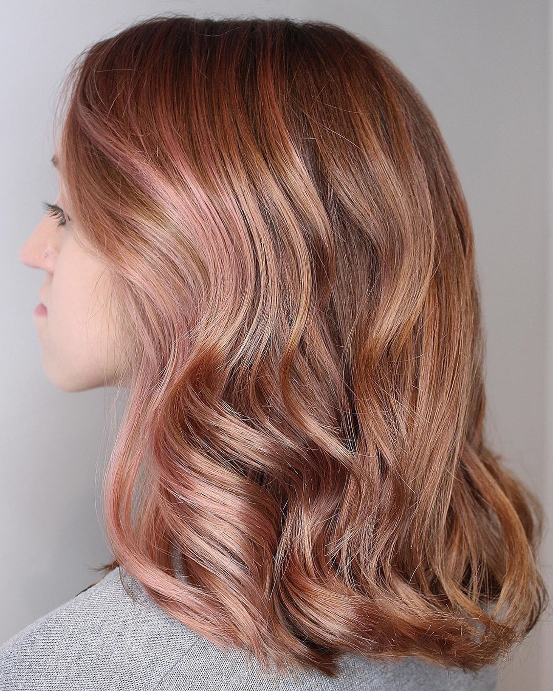 Caramel Blonde Hair with Rose Gold Highlights