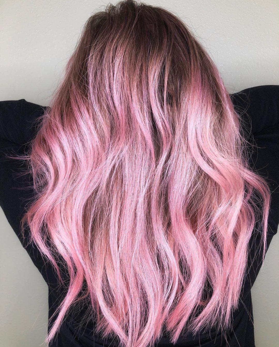 Rose Gold Hair Pink Highlights