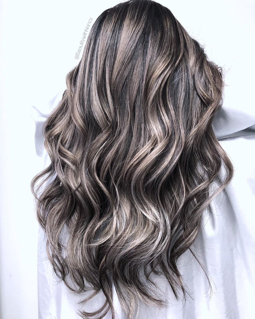 Black Hair with Silver Balayage