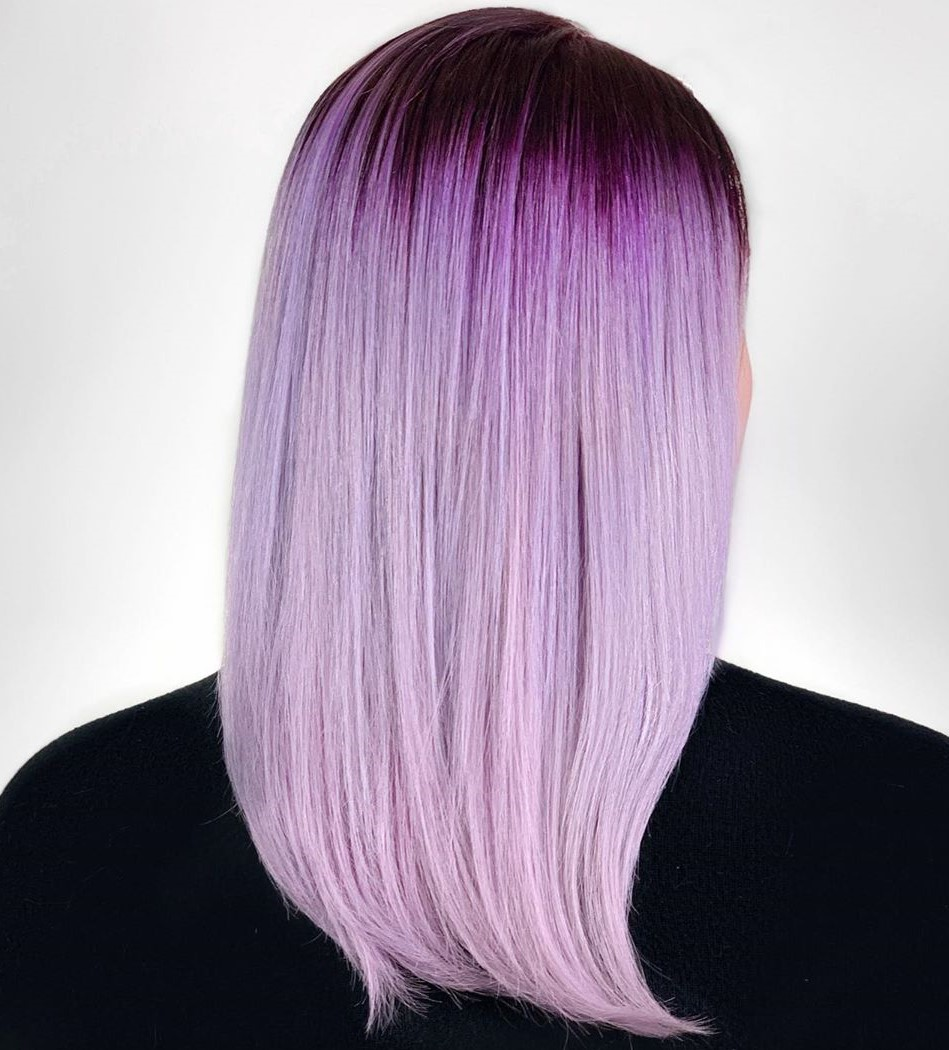 Light Purple Blonde Hair with Dark Roots