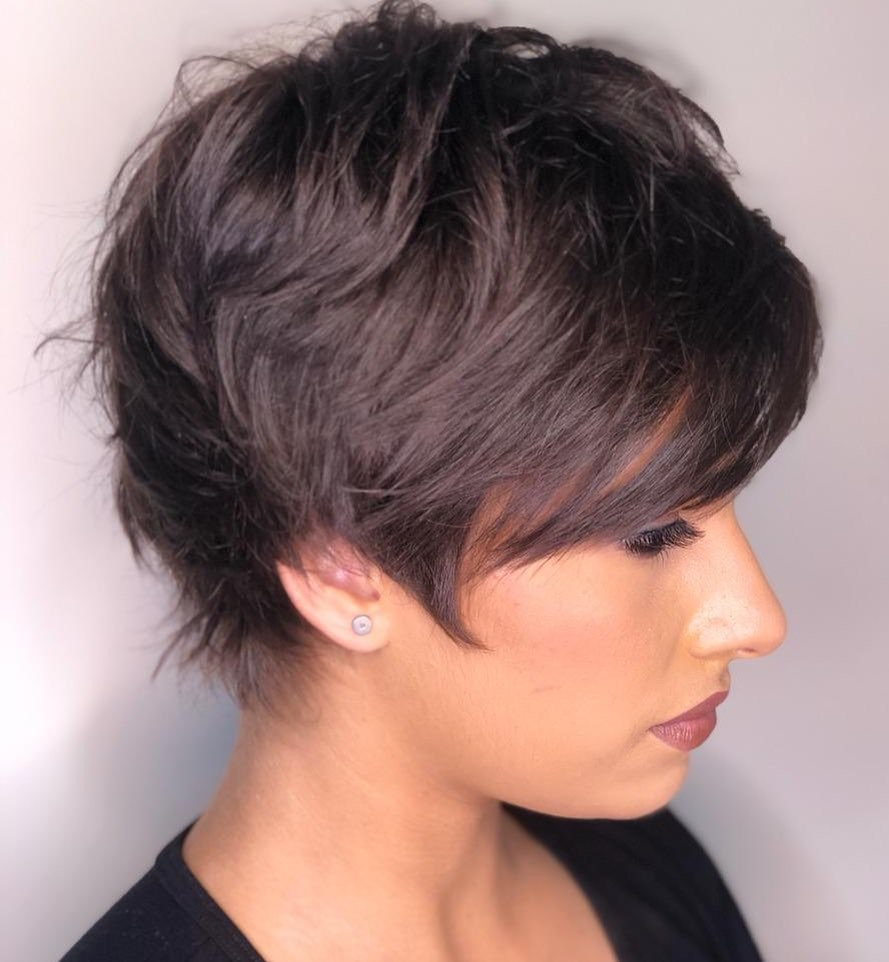 Feathered Short Hair with a Swoopy Fringe