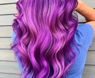 Long Bright Purple Balayage Hair