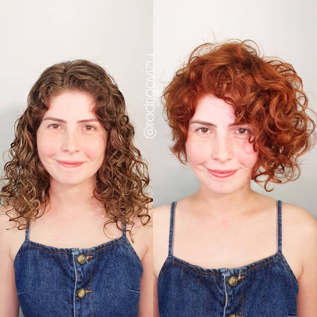 Short Curly Asymmetrical Layered Cut