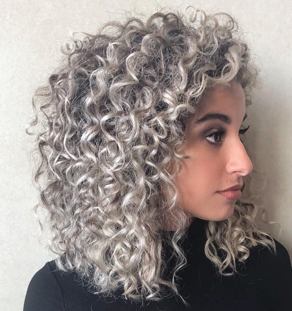 Shoulder-Length Curly Silver Hair